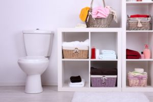 bathroom storage white shelving