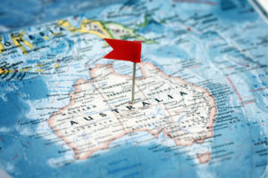 Map of Australia with a small red flag pinned in the middle